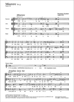 Miserere En Sol Mineur. Domenico Scarlatti Partition laflutedepan
