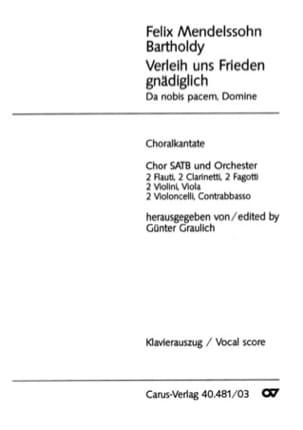 MENDELSSOHN - Verleih Uns Frieden Gnädignich / Donna Nobis Pacem - Partition - di-arezzo.fr