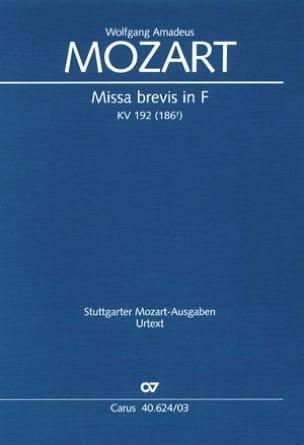 MOZART - Missa brevis in F KV 192 - Partition - di-arezzo.fr