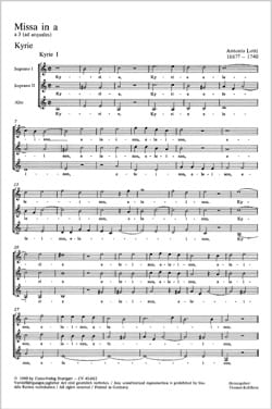 Antonio Lotti - Missa In The Minor - Sheet Music - di-arezzo.com