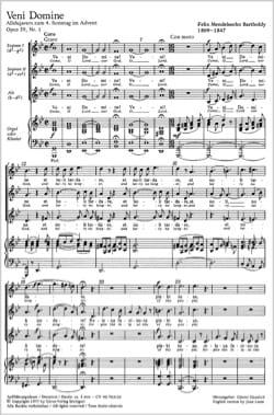 MENDELSSOHN - Veni Domine Opus 39-1 - Partition - di-arezzo.fr