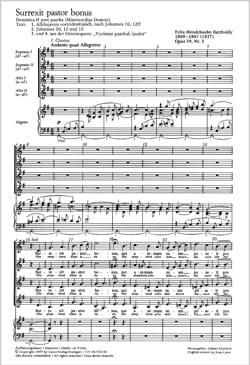 MENDELSSOHN - Surrexit Pastor Bonus Opus 39-3 - Sheet Music - di-arezzo.co.uk