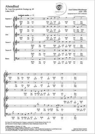 Josef Gabriel Rheinberger - Abendlied Opus 69-3 - Partitura - di-arezzo.es