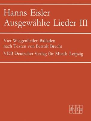 Hanns Eisler - Ausgewählte Lieder 3 - Partition - di-arezzo.fr