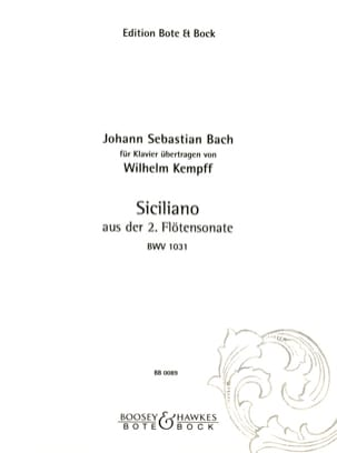 BACH / KEMPFF - Sicilian Sonata For Flute N ° 2 - Sheet Music - di-arezzo.co.uk