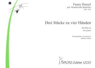 Fanny Hensel - 3 Stücke. 4 Mains - Partition - di-arezzo.fr