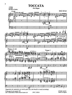 Toccata - Boyle - Partition - Orgue - laflutedepan.com