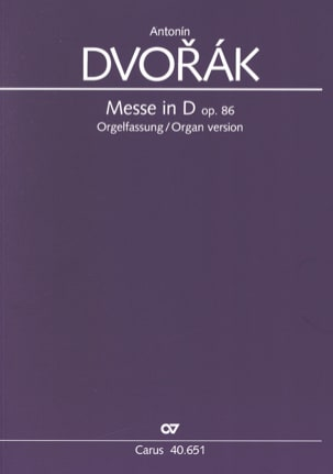 DVORAK - Mass In Re Opus 86 Version Choir and Organ - Sheet Music - di-arezzo.com