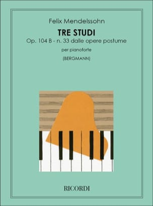 3 Etudes Opus 104b. MENDELSSOHN Partition Piano - laflutedepan