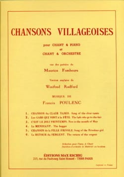 6 Chansons Villageoises POULENC Partition Mélodies - laflutedepan