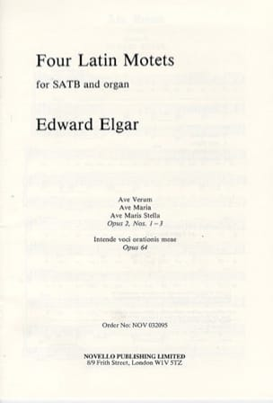 ELGAR - 4 Latin Motets Opus 2 and 64 - Sheet Music - di-arezzo.com