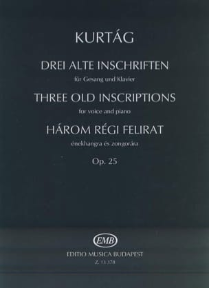 György Kurtag - Harom Régit Felirat Opus 25. - Partition - di-arezzo.fr