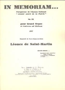 In Memoriam. Opus 33 Léonce de Saint-Martin Partition laflutedepan