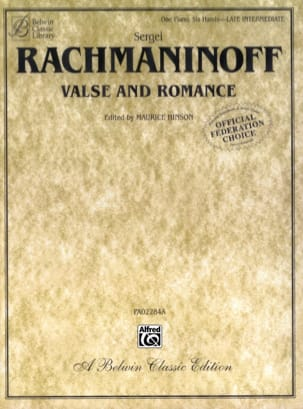 Valse et Romance. 6 Mains RACHMANINOV Partition Piano - laflutedepan