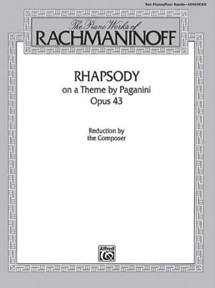 RACHMANINOV - Rhapsody On A Theme Of Paganini Opus 43. 2 pianos - Sheet Music - di-arezzo.co.uk