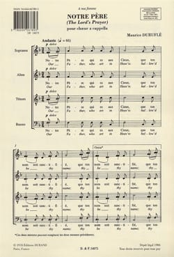 Maurice Duruflé - Our Father Opus 14 - Sheet Music - di-arezzo.com