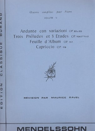 Félix MENDELSSOHN - Oeuvres pour piano Volume 5 - Partition - di-arezzo.fr