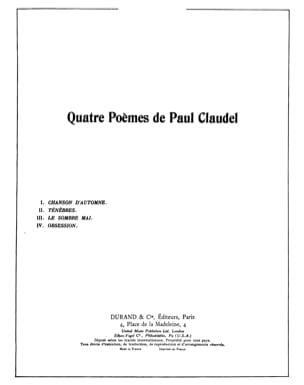 4 Poèmes de Paul Claudel Op. 26 - Darius Milhaud - laflutedepan.com
