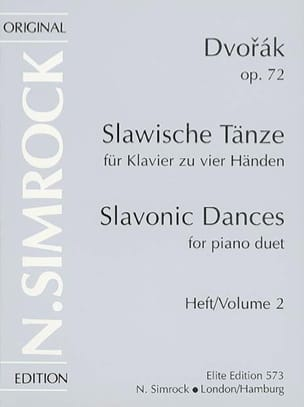 Anton Dvorak - Danses Slaves Opus 72 Volume 2. 4 mains - Partition - di-arezzo.fr