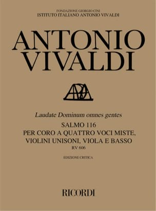 Antonio Vivaldi - Laudate Dominum Omnes Gentes RV 606 - Partition - di-arezzo.fr