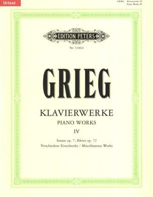 Oeuvre Pour Piano Volume 4 GRIEG Partition Piano - laflutedepan