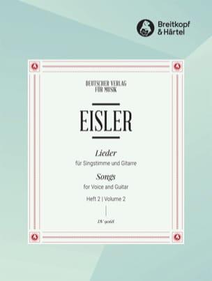 Hanns Eisler - Lieder Pour Voix et Guitare Volume 2 - Partition - di-arezzo.fr