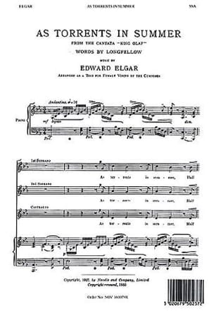 ELGAR - As Torrents In Summer Opus 30. SSA - Partition - di-arezzo.fr