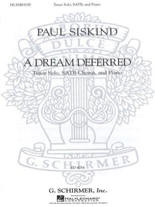 Paul Siskind - A Dream Deferred - Partition - di-arezzo.fr