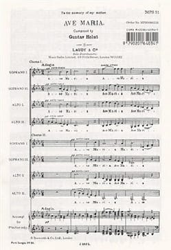 Gustav Holst - Ave Maria - Sheet Music - di-arezzo.co.uk