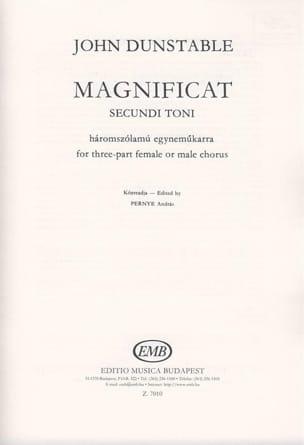 Magnificat Secundi Toni - John Dunstable - laflutedepan.com