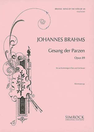Johannes Brahms - Gesang des Parzen Op. 89 - Partition - di-arezzo.fr