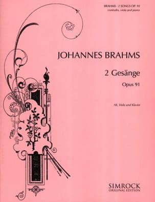 BRAHMS - 2 Gesänge Opus 91 - Sheet Music - di-arezzo.co.uk