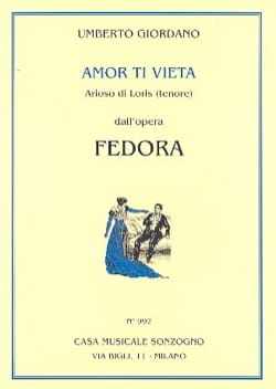 Umberto Giordano - Amor Ti Vieta Di No Amar. Fedora - Sheet Music - di-arezzo.co.uk