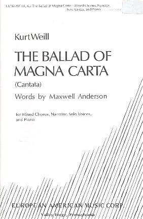 The Ballad Of Magna Carta WEILL Partition Chœur - laflutedepan