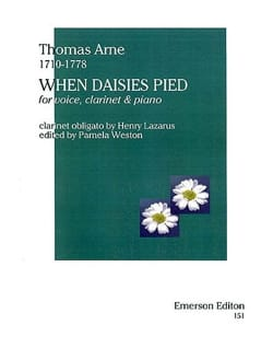 Thomas Augustine Arne - When Daisies Pied - Partition - di-arezzo.fr