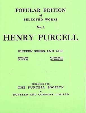Henry Purcell - 15 Songs And Airs Volume 1. Mean Voice - Sheet Music - di-arezzo.com