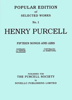 Henry Purcell - 15 Songs And Airs Volume 1. Voix Haute - Partition - di-arezzo.fr