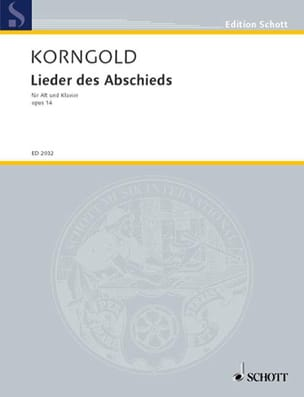 KORNGOLD - Lieder of the Abschieds Opus 14 - Sheet Music - di-arezzo.co.uk
