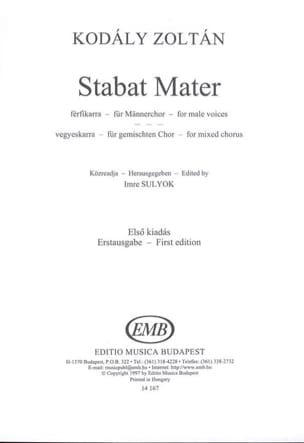 Zoltan Kodaly - Stabat Mater - Partition - di-arezzo.fr