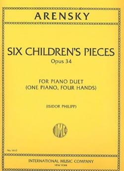 6 Children's Pieces Op. 34. 4 Mains Anton Arensky laflutedepan