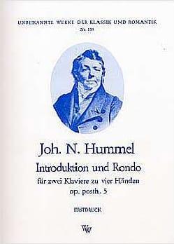HUMMEL - Introduction et Rondo Op. Posth 5. 2 Pianos. - Partition - di-arezzo.fr