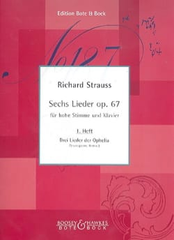 6 Lieder Opus 67. Volume 1 Richard Strauss Partition laflutedepan