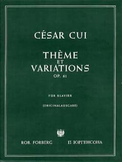 César Cui - Thème et Variations Op. 61 - Partition - di-arezzo.fr