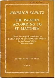 Heinrich Schütz - The Passion According To St. Matthew - Partition - di-arezzo.fr
