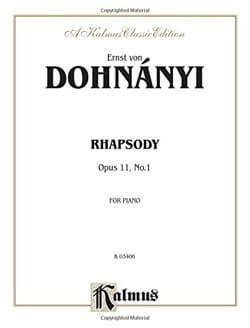 DOHNÁNYI - Rhapsodie Op. 11-1 - Partition - di-arezzo.fr