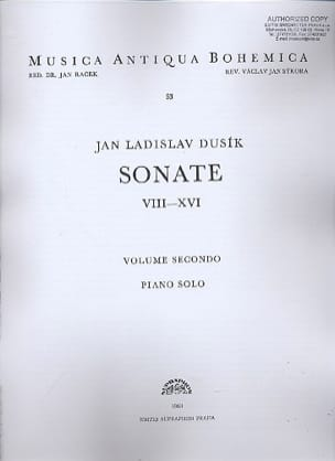 Sonates 8 A 16 Vol 2. Jean Ladislas Dussek Partition laflutedepan