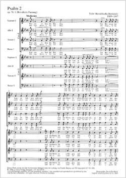 Félix MENDELSSOHN - Der Zweite Psalm Op. 78-1 MWV B 41 - Partition - di-arezzo.fr