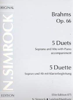5 Duette Opus 66 BRAHMS Partition Duos - laflutedepan