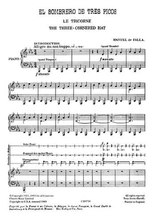 Manuel de Falla - Le Tricorne. Archive - Partition - di-arezzo.fr