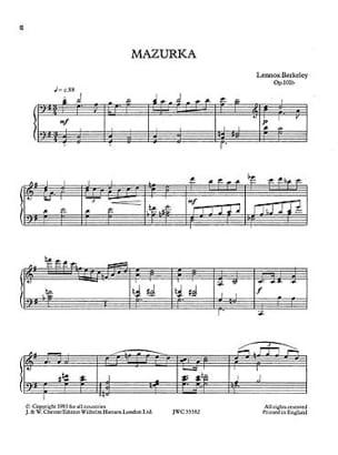 Berkeley - Mazurka Op. 101b - Partition - di-arezzo.fr